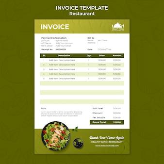 Plantilla de factura de restaurante de comida sana