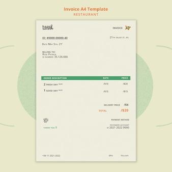 Plantilla de factura de restaurante