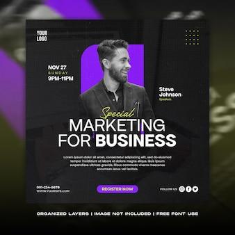 Plantilla de feed de instagram y publicación de redes sociales de seminario web de marketing empresarial