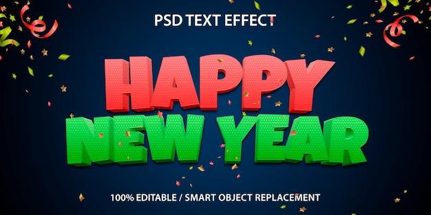 Plantilla de feliz año nuevo con efecto de texto