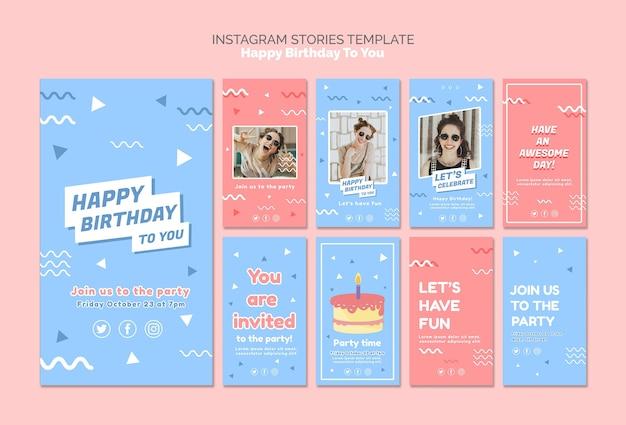 Plantilla de feliz cumpleaños concepto instagram historias