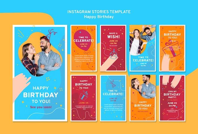 Plantilla feliz cumpleaños historias instagram