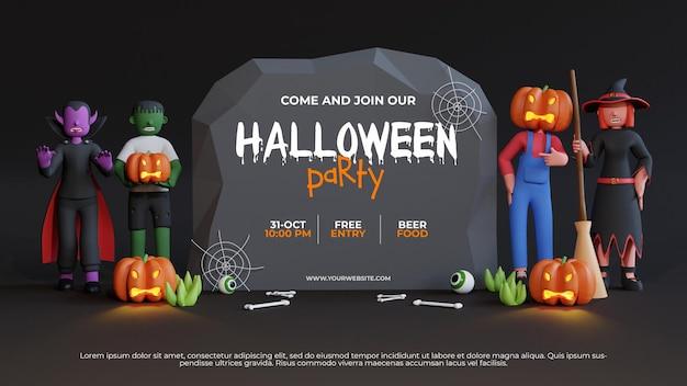 Plantilla de fiesta de hallowen con renderizado 3d zombie y fondo de personaje de hombre calabaza