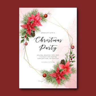 Plantilla de fiesta de navidad con decoración de adornos navideños y fondo de acuarela