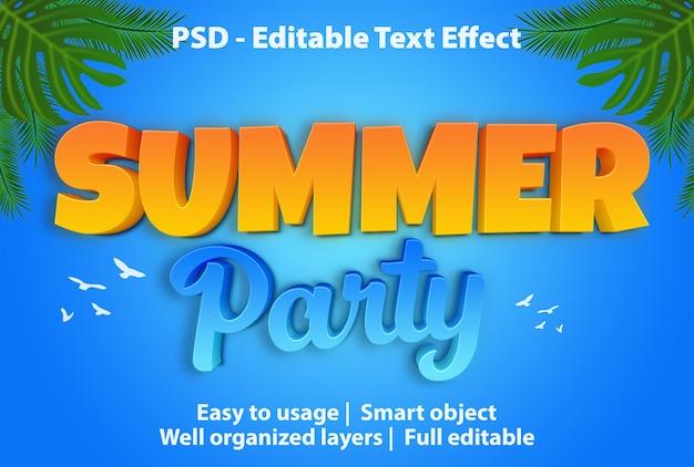 Plantilla de fiesta de verano con efecto de texto