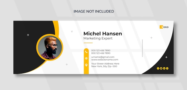 Plantilla de firma de correo electrónico o pie de página de correo electrónico y diseño de portada de redes sociales personales