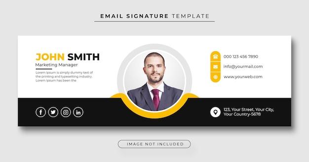 Plantilla de firma de correo electrónico o pie de página de correo electrónico y portada personal de facebook
