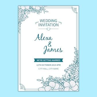 Plantilla de floral de invitación de boda