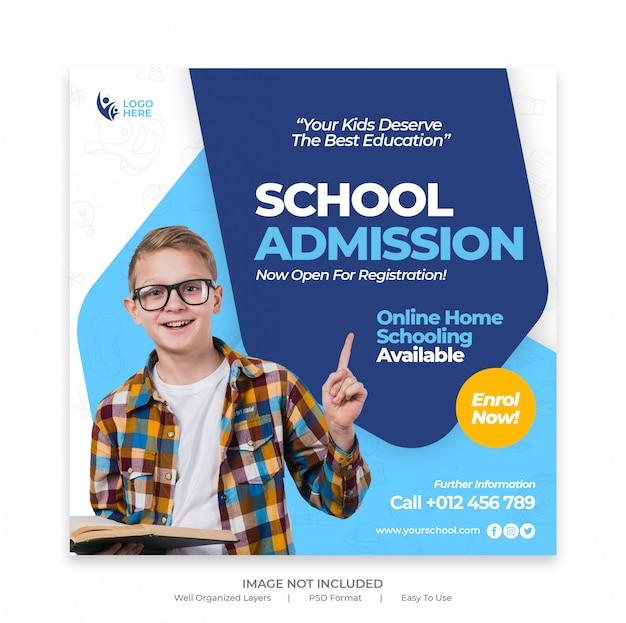 Plantilla de flyer cuadrado y banner de medios sociales de admisión escolar para niños