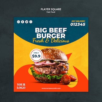 Plantilla de flyer cuadrado de comida rápida
