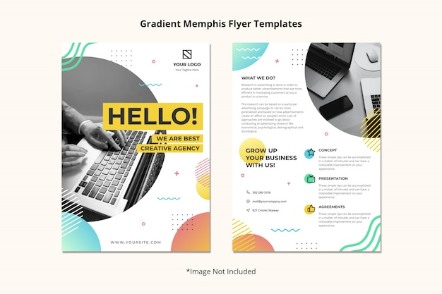 Plantilla folleto agencia creativa folleto simple limpio abstracto estilo memphis