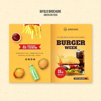 Plantilla de folleto bifold de comida americana