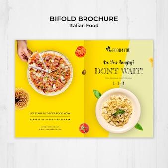 Plantilla de folleto bifold de concepto de comida italiana