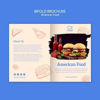 Plantilla de folleto con comida americana