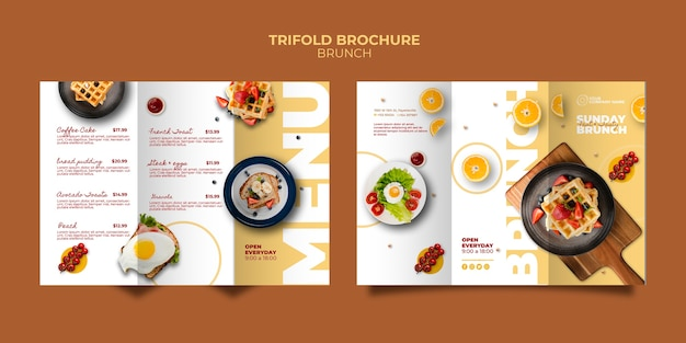 Plantilla de folleto con concepto de brunch