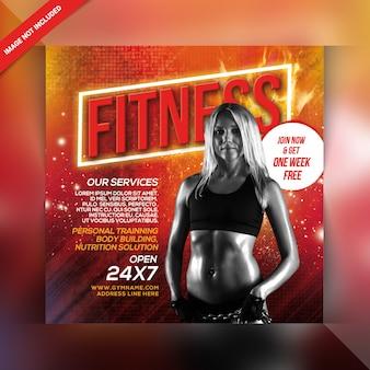 Plantilla de folleto cuadrado o publicación de instagram de fitness de gimnasio