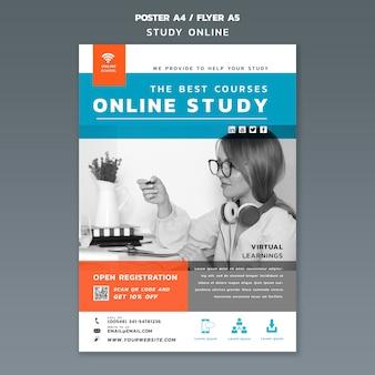 Plantilla de folleto de estudio en línea