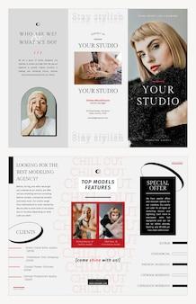 Plantilla de folleto de moda psd sesión de fotos estudio de negocios