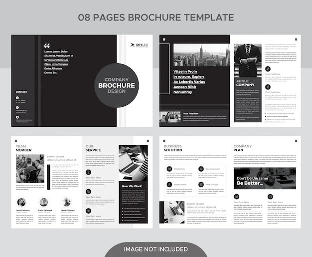 Plantilla de folleto de páginas en blanco y negro