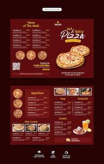 Plantilla de folleto plegable de menú de comida y restaurante