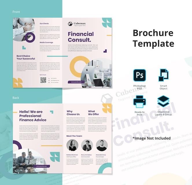 Plantilla de folleto plegable simple abstracto consultor financiero
