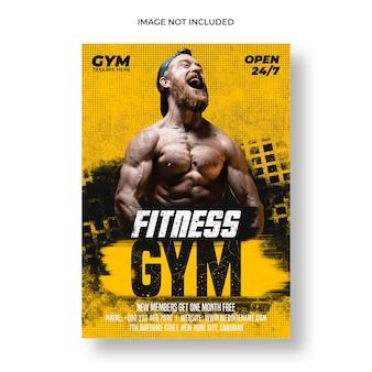 Plantilla de folleto y póster de gimnasio fitness