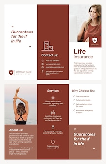 Plantilla de folleto de seguro de vida psd con texto editable