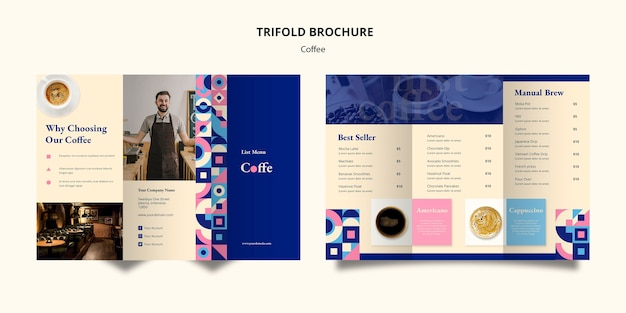 Plantilla de folleto triple café