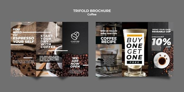 Plantilla de folleto triple café