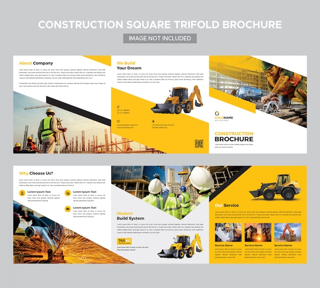 Plantilla de folleto - triple cuadrado de construcción