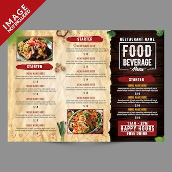 Plantilla de folleto triple de menú de alimentos y bebidas