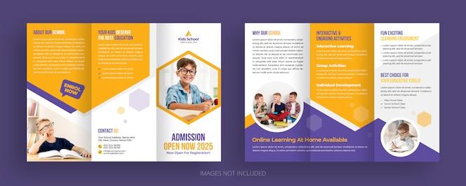 Plantilla de folleto tríptico de admisión a la escuela para niños