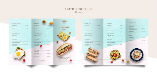 Plantilla de folleto tríptico para brunch