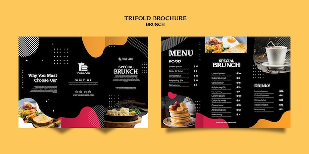 Plantilla de folleto tríptico de brunch