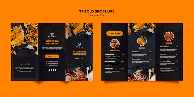Plantilla de folleto tríptico de comida mexicana