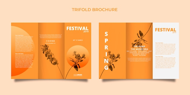 Plantilla de folleto tríptico con concepto de festival de primavera