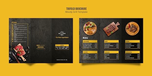 Plantilla de folleto tríptico moody grill