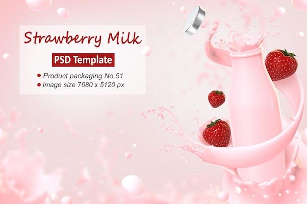 La plantilla del fondo de la leche de la fresa 3d rinde