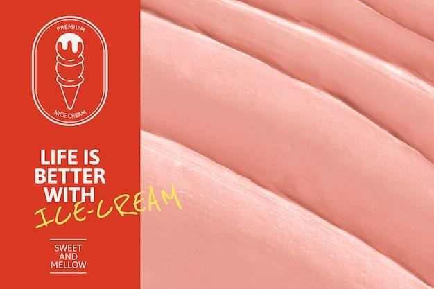 Plantilla de helado psd con textura de glaseado rosa para banner de blog