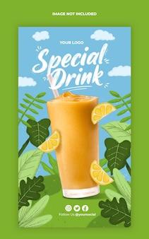 plantilla de historia de instagram de bebida especial