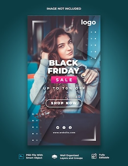 Plantilla de historia de instagram de black friday