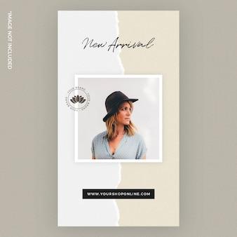 Plantilla de historia de instagram de moda de papel rasgado