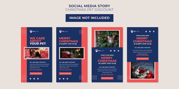 Plantilla de historia de redes sociales con descuento de clínica de mascotas y navidad