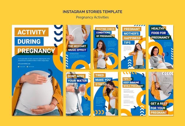 Plantilla de historias de instagram de actividades de embarazo