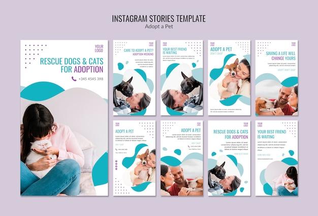 Plantilla de historias de instagram con adopción de mascotas