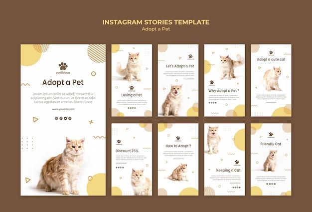 Plantilla de historias de instagram de adopción de mascotas