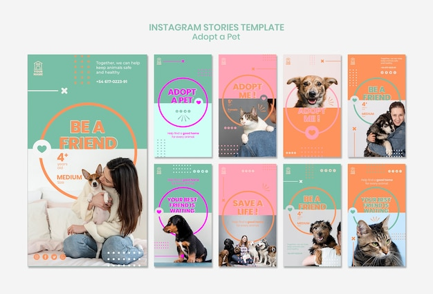 La plantilla de historias de instagram adopta mascota