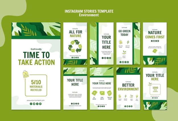 Plantilla de historias de instagram ambiental