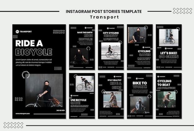Plantilla de historias de instagram de andar en bicicleta