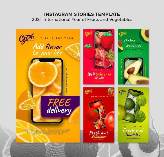 Plantilla de historias de instagram del año de frutas y verduras